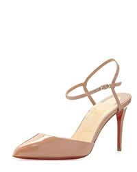 Christian Louboutin Rivierina Patent Ankle Wrap Red Sole Pump Nude Women's Size 42.0B 12.0B