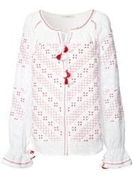 Vita Kin Detailed Embroidery Contrast Blouse White