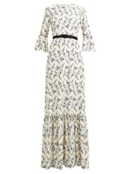 Erdem Senna Floral Embroidered Belted Gown White Print