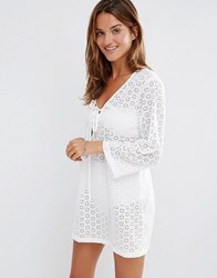 Liquorish Broderie Anglaise Lace Up Front Beach Shift Dress White