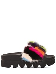 Colors Of California 60Mm Mink Fur Wedge Slide Sandals Multicolor