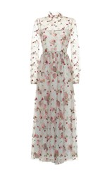 Luisa Beccaria Tulle Floral Embroidered Maxi Dress