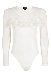 Topshop Lace Spot Mesh Long Sleeve Body White