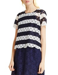 Bcbgeneration Lace Scalloped Hem Tee Deep Blue Combo