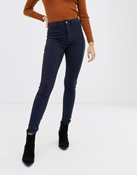 Pieces High Waisted Jeggings Navy