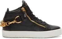 Giuseppe Zanotti Black And Gold Leather London Chain Sneakers