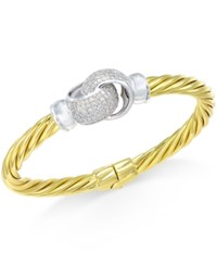 Macy's Diamond Interlocked Knot Bangle Bracelet 1 Ct. T.W. In 14K Gold Plated Sterling Silver No Color