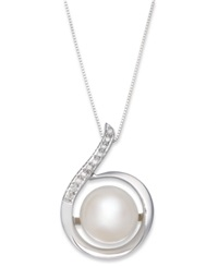 Macy's 14K White Gold Necklace Cultured Freshwater Pearl 11Mm And Diamond 1 10 Ct. T.W. Swirl Pendant Black