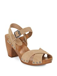 Saks Fifth Avenue Boston Suede And Wood Clog Sandals Woodsmoke