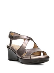 Naturalizer Villette Crisscross Leather Wedge Sandals Bronze