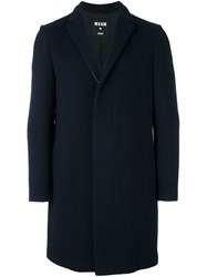 Msgm Single Breasted Coat Blue
