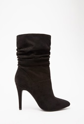Forever 21 Slouchy Faux Suede Booties Black