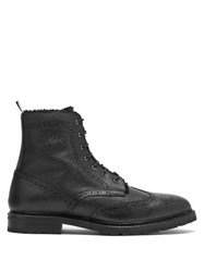 Thom Browne Shearling Lined Pebbled Leather Derby Boots Black