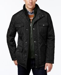London Fog Men's Corduroy Trim Layered Quilted Jacket Black
