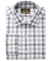 Tasso Elba Men's Classic Fit Non Iron Gray Mega Gingham Dress Shirt Only At Macy's Grey