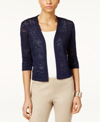 Jm Collection Petite Cropped Crochet Cardigan Created For Macy's Intrepid Blue