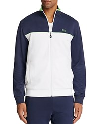 Hugo Boss Green Skaz Color Block Zip Sweatshirt White