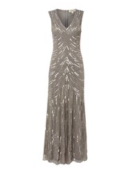 Linea Sequin Detail Fishtail Maxi Dress Oyster