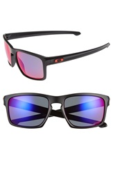 Oakley 'Silver' 57Mm Polarized Sunglasses Matte Black Red Irdium