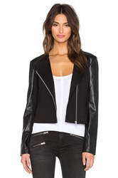 Lamade Ponte And Vegan Leather Lucia Zip Up Jacket Black