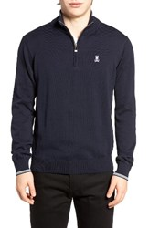 Psycho Bunny Men's Quarter Zip Sweater Navy