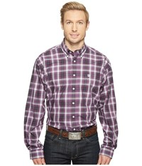 Cinch Long Sleeve Plain Weave Plaid Purple Men's Clothing