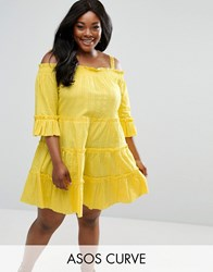 Asos Curve Lace Insert Tiered Cold Shoulder Sun Dress Yellow