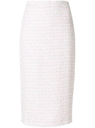 Alessandra Rich Boucle Pencil Skirt Pink And Purple