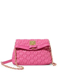 Betsey Johnson Always Be Mine Heart Quilted Shoulder Bag Pink
