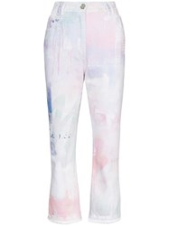 Balmain Spray Paint Cropped Jeans Pink