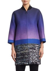 Akris Punto Long Twilight Print Coat Multi