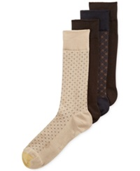 Gold Toe Men's Classic Mosaic Socks 4 Pack Khaki