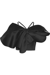 Vika Gazinskaya Cropped Ruffled Cotton Satin Top Black