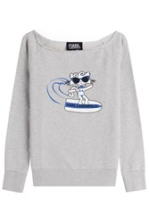 Karl Lagerfeld Choupette On The Beach Cotton Sweatshirt Grey