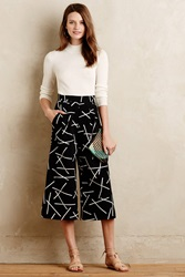 Cameo Euclidean Cropped Wide Legs Black Motif