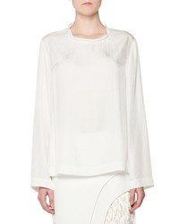 Tom Ford Twisted Neck Oversized Long Sleeve Tee White