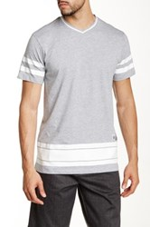 Burnside Striped V Neck Tee Gray