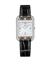 Hermes Cape Cod Pm Watch With Diamonds And Alligator Strap Black