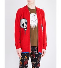 Coach 1941 Intarsia Knit Skull And Fox Knitted Cardigan Dark Cayenne