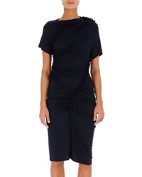 Atlein Ruched Jersey Short Sleeve Dress Navy