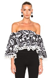 Nicholas Eden Embroidered Top In Black Floral White Black Floral White