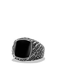 David Yurman Naturals Gator Signet Ring With Black Jade Black Silver