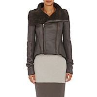 Rick Owens Women's Naska Shearling Biker Jacket Dark Grey