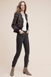 Anthropologie Pilcro Script Coated High Rise Jeans Black