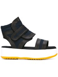 Marni Canvas Platform Sandals Blue