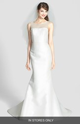 Amsale Women's 'Preston' Silk Magnolia Sheath Wedding Dress Ivory