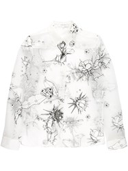 Carven Illustrated Print Shirt Women Silk Linen Flax Polyester Viscose 42 White