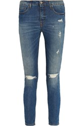 Victoria Beckham Distressed Mid Rise Skinny Jeans Blue