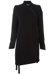 Ann Demeulemeester Asymmetrical Zipper Coat Black
