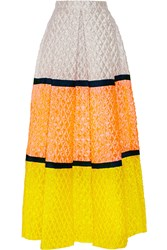 Roksanda Ilincic Color Block Matelasse Maxi Skirt Yellow
